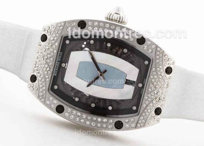 Replique Montre Richard Mille RM007 Automatique MOP Dial Avec Diamond Bezel & Marquage 25529