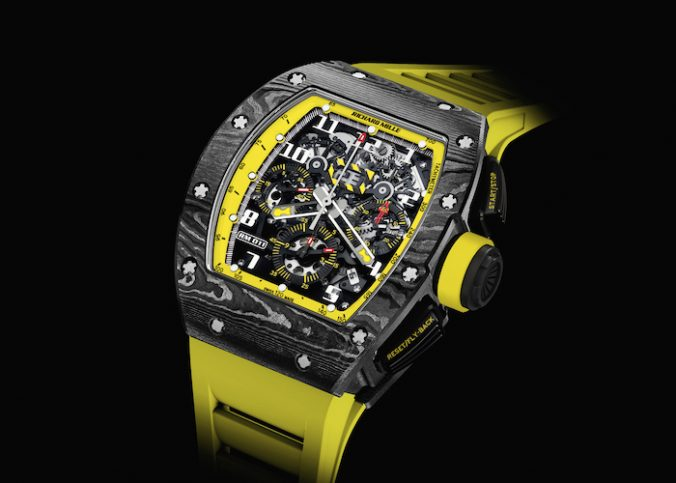RM 011 Flyback Chronograph Storm watch in NTPT and bold yellow